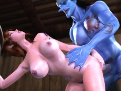 Animated 3D beauty getting attacked by a lustful monster