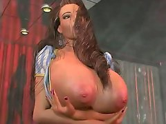Bigtitted 3D porn stripper baring her goodies dancing by the pole